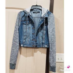 Trendy cropped denim/fabric hoodie